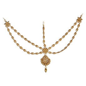 Pink Rose - Bridal Collection Gold Alloy Matha Patti For Women, alloy, gold, 21