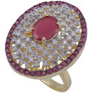 Pink Rose - Complement Collection Ruby American Diamond White Alloy Princess Love Ring For Women