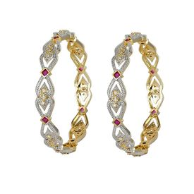 Pink Rose - Complement Collection Ruby White American Diamond Alloy Princess Charm Bangles For Women (Set of 2)