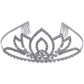 Pink Rose - Complement Collection White Alloy Stone Princess Delight Hair Crown Tiara For Women (Head Gear)