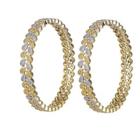 Pink Rose - Complement Collection Gold White American Diamond Alloy Princess Charm Bangles For Women (Set of 2)