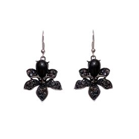 Pink Rose - Black drop earrings