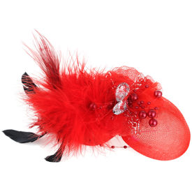 Pink Rose - Complement Collection Red Fabric Feather Princess Charm Hat For Women (Head Gear)