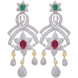 Pink Rose - Complement Collection American Diamond Ruby Green Alloy Love Danglers For Women