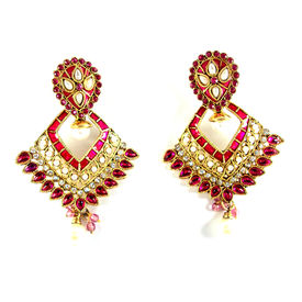 Pink Rose - Pink dangle Earring