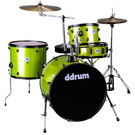 DDRUM D2 Rock kit Lime Spkl w/ blk hardware