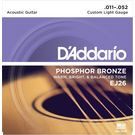 D'Addario EJ13 Acoustic Guitar Strings 80/20 Bronze. 011-. 052 Set