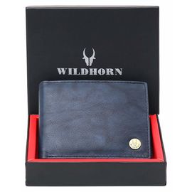 WildHorn New Design Black 100% Genuine Leather Wallet for Men (Blue)