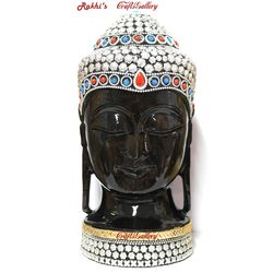 Buddha Head Statue with Metal Work - 10 Inch