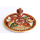 Craftsgallery Marble Puja Thali With Emboss Painting 9