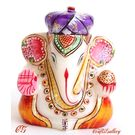 Marble Pagdi Ganesha statue Gold Painted, 3 inches