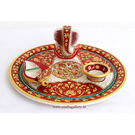 Craftsgallery Marble Puja Thali With Emboss Painting 10