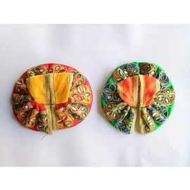 Kanch Work Bal Gopal Colorful Dress ( 0 No. ) - 2 Pcs
