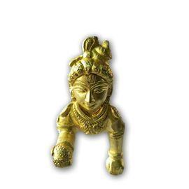Designer Golden Laddu Gopal / Metal Bal Gopal Statue