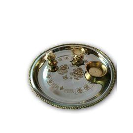 Brass And Steel Lazer Crafted Pooja Thali/ Small 2 Tone Laxmi Ji Ganesh Ji Pooja Thali