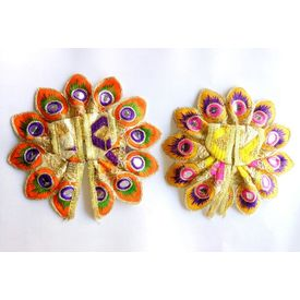 Embroidered Poshak Of Bal Gopal Kanch Work ( 0 No. ) - 2 Pcs