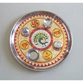 Meenakari Pooja Thali / Designer Arti Puja Thali Set