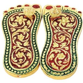 Shri Laxmi Charan Paduka For Wealth & Prosperity / Brass Charan Paduka / Decorative Paduka