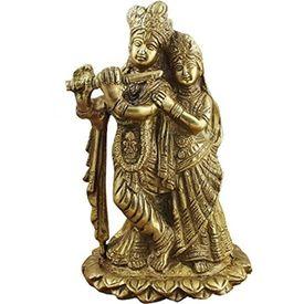 Brass Radha Krishna Statue/ Decorative Radha Krishna Murti/ Brass Statue