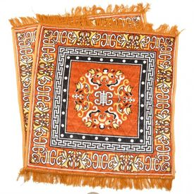 Handloom Orange Pooja Mat / Prayer Mat / Velvet Pooja Aasan - 2 Pcs
