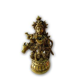 Brass Standing Krishna Ji With Cow/ Krishna Statue / Standing Krinshna Ji Fluting Bansuri