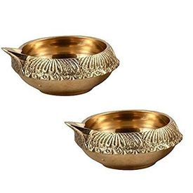 Brass Kuber Diya Brass Deepak Diwali Pooja Set Of 2