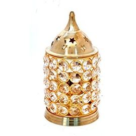 Brass Crystal Akhand Dia Diamond Crystal Deepak Magical Lantern Brass Diya Brass Oil Lamp