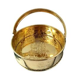 Brass Pooja Basket / Pooja Brass Tokri With Om Symbol