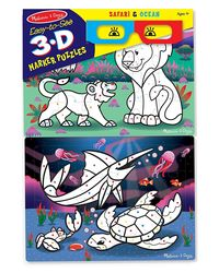 Melissa & Doug Easy to See 3D Marker Coloring Safari Ocean Puzzle, Multi Color (24 Pieces)