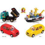 Shinsei Toys Pull Back Combo Offer Pack Of 4 Each 1 Coal Carrier, City H Boat, Alto Dx & Alto
