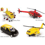 Min Toy Pull Back Combo Offer Pack Of 4 Funny Plane, Res Helicopter, India Cab Indica & IAF Helicopter (Color May Varry)