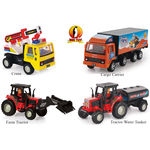 Shinsei Toys Pull Back Combo Offer Pack Of 4 Each 1 Cargo Carrier, Crane, Farm Tractor & Tractor Water Tanker