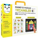 Play panda New Magnetic Puzzles Triangles - with 250 colorful magnets, 100 puzzle book, Magnetic board and Display stand