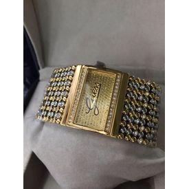 Imported Bridal Wear Designer Guess Trending Diamonds Golden Belt Gift Watch Women Lady Ladies White Dial