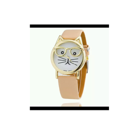 New Cat Frame beige Color Strap Watch For Women