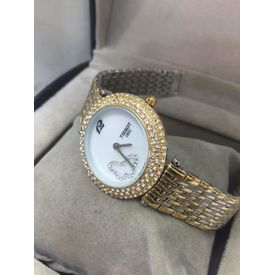 Imported Bridal Wear Designer Tissot heart shape Golden Belt Gift Watch Women Lady Ladies White Dial
